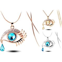 Teardrop Eye Necklaces by sadecekolye on Polyvore