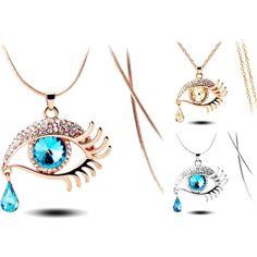 Teardrop Eye Necklaces by sadecekolye on Polyvore