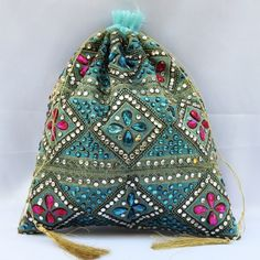 Blue Full Stone Work Potli (Click To Buy | Only Rs 350)