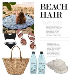 """Basic ◇"" by tayla-jorden ❤ liked on Polyvore featuring beauty, Topshop, Redken, Straw Studios, Tory Burch and beachhair"