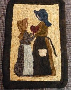 "Primitive Rug Hooking Pattern on Linen ""Here's My Heart!"""
