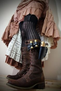 Unisex Real Leather Boot Garter with holster, hand painted water pistol, shotgun shell containers - Black - steampunk Steampunk Shoes, Mode Steampunk, Steampunk Festival, Steampunk Accessories, Steampunk Costume, Steampunk Clothing, Steampunk Fashion, Steampunk Outfits, Victorian Steampunk