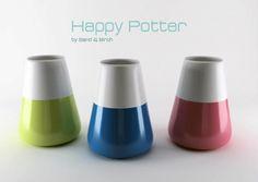 Happy Potter by sand & Birch Design & birch Design Fields, Happy Flowers, Flower Pots, Birch, Lego, Interior Colors, Design Design, Vase, Facebook