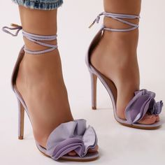 Ruffle Sandal Heels in Purple