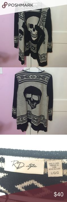 RD style Patterned Cardigan Sweater Once worn. Really cute and unique black and off white cardigan sweater from Lord & Taylor. Cardigan features 3 skulls; one large on the back and two smaller on both sides of the front. RD style Sweaters Cardigans