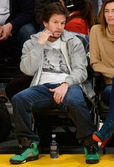 Mark Wahlberg wearing his Air Jordan 5 Oregon Ducks Lakers Game d579e8a47e56