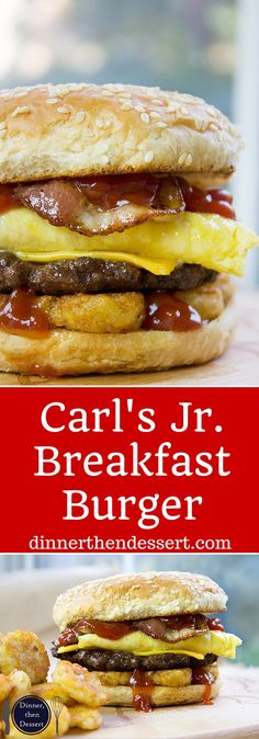 Breakfast Burger with seared beef patty, crispy hash browns, scrambled eggs, cheese and glorious bacon. All the flavor, no drive-thru. Carls Jr Breakfast, Breakfast Burger, Breakfast Dishes, Breakfast Recipes, Brunch Dishes, Breakfast Sandwiches, Breakfast Ideas, Dog Recipes, Burger Recipes