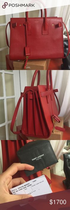 Yves St. Laurent Small Sac du Jour Lipstick red. Comes with dust bag. Authentication card. Shoulder strap Yves Saint Laurent Bags Shoulder Bags