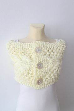 SALE Knit Capelet  White Knit Scarf  Infinity Scarf  by LocoTrends