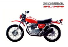 Old School Motorcycles, Honda Motorcycles, Cars And Motorcycles, Trail Motorcycle, Motorcycle Posters, Vintage Bikes, Vintage Motorcycles, Honda Dirt Bike, Cb350