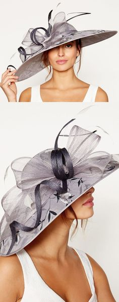 Silver Platinum Wide Floral and Bow Hat. Summer or Winter Hat for the Kentucky Derby, Dubai World Cup, Royal Ascot. Ladies Day Fashion outfits. Idea for spring wedding guest. Popular color for Mother of the Bride outfits. Outfit ideas and inspiration. #outfits #ebayfinds #kentuckyderby #weddings #derbyoutfits #kentuckyderbyhats #derbyhats #royalascot #ascothats #ascotoutfits #outfitideas #fashion #ladiesdayoutfits #motherofthebride #promotion #fashionsonthefield