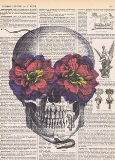 Sugar Skull.Flowers.Cranium.Catrina.Gift.French,Color.Antique Book Page Print,buy 3 get 1 free.deco.steampunk.hipster.birthday.day of dead