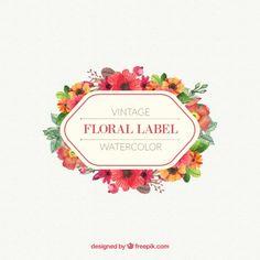 ヴィンテージデザインの水彩画の花のラベル 無料ベクター
