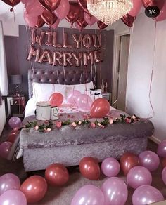 Dreamy, Romantic At-Home proposal inspiration. Balloons, flowers, and large gift baskets for proposal. Happy Birthday Decor, Birthday Room Decorations, Graduation Decorations, Cute Proposal Ideas, Romantic Proposal, Proposal Photos, Surprise Proposal, Romantic Quotes, Romantic Weddings