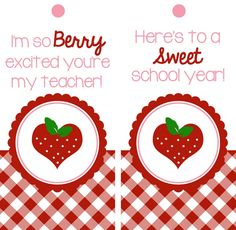 FREE printable back to school Berry Excited Teacher Gift and Tags 1