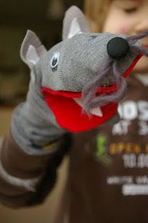 inspiration for wolf sock puppets (animal tales)