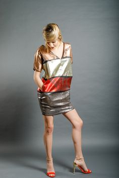 Dip Dye, Sequin Skirt, Copper, Silver, Red, Cotton, Clothes, Collection, Dresses
