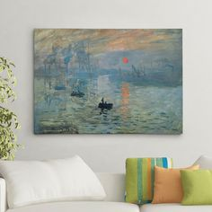 'Impression Sunrise' by Claude Monet Painting Print on Canvas