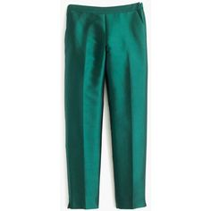 J.Crew Collection Cigarette Pant ($240) ❤ liked on Polyvore featuring pants, capris, shiny pants, wet look pants, j. crew pants, slim fitted pants and j crew trousers