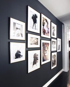 I LOVE the dark wall with the white.perfect for the wall across from the front., I LOVE the dark wall with the white.perfect for the wall across from the front. Inspiration Wand, Inspiration Design, Inspiration Boards, Family Pictures On Wall, Wall Photos, Framed Pictures, Displaying Photos On Wall, Pictures For Bedroom Walls, Wall Decor With Pictures