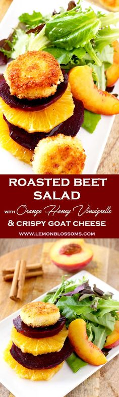 This Roasted Beet Salad is amazing! Tossed in a delicious Orange Honey Vinaigrette with oranges, peaches and mixed greens. Topped with crispy and golden goat cheese coins that are super creamy inside! Perfect for special occasion or any day of the week! #