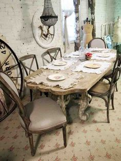 Painted Cottage Chic Shabby Farmhouse DIning