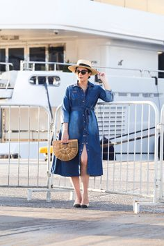 Cruise Chic Style with Denim Dress, Cult Gaia Bag & Chanel Slingbacks by Stella Asteria - Fashion & Lifestyle Blogger