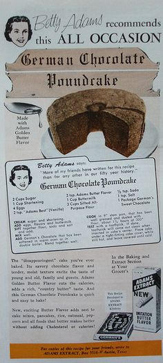 Adams Extract ad with recipe for German Chocolate Poundcake    Woman's Day - February 1962