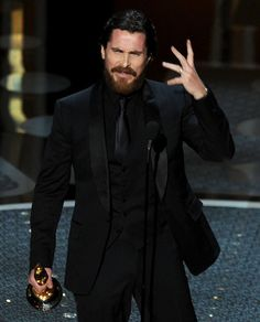 Christian Bale Photos Photos Annual Academy Awards Show is part of All black suit Christian Bale Photos Actor Christian Bale accepts the award for Best Performance by an Actor in a Supporting - All Black Tuxedo, All Black Suit, All Black Men, Tuxedo For Men, Men Dressed In All Black, Black Tux Wedding, Wedding Suits, Mens Fashion Suits, Mens Suits