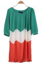 Green White Red Long Sleeve Pleated Chiffon Dress
