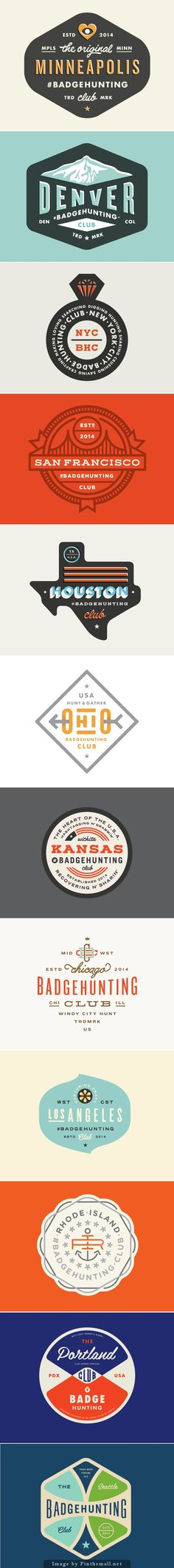 Badgehunting logos by Allan Peters It's cool how he gives some of these an extra vintage touch by nudging the type fill color over a bit to imitate a printing error.