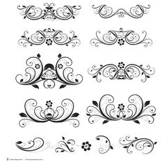 Digital Clipart Flourish Clip Art Swirls Vintage Flower DIY Wedding Invitation Decorative Scrapbooking Embellishment Design Elements 10128. via Etsy.