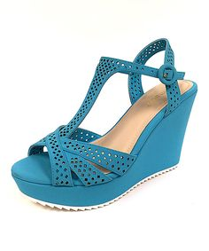 Another great find on #zulily! Turquoise Cutout Jesica Wedge Sandal by Bamboo #zulilyfinds