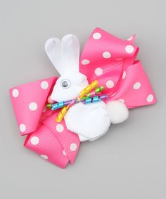 Love this Pink Polka Dot Rabbit Bow Clip by Picture Perfect Hair Bows on #zulily! #zulilyfinds
