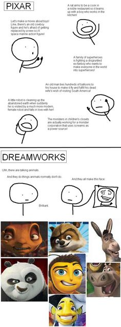 pixar vs. dreamworks. And THAT is why I wanted to work for Pixar, NOT Dreamworks