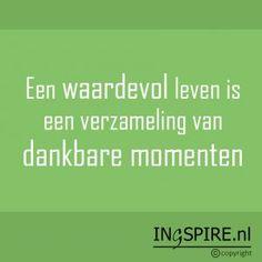 Mooi citaat: Een waardevol leven is een verzameling van dankbare momenten © Ingspire