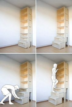 bookcase that turns into stairs?... I think this would work well in my pantry with a 10' ceiling!