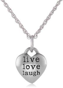 Sterling Silver Live Love Laugh Heart Pendant Necklace, 18