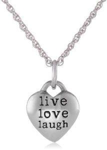 Sterling Silver Live Love Laugh Heart Pendant Necklace, 18