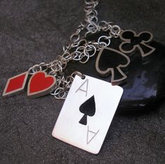 Casino Necklace Sterling Silver and Resin Lady Luck by lsueszabo, $280.00