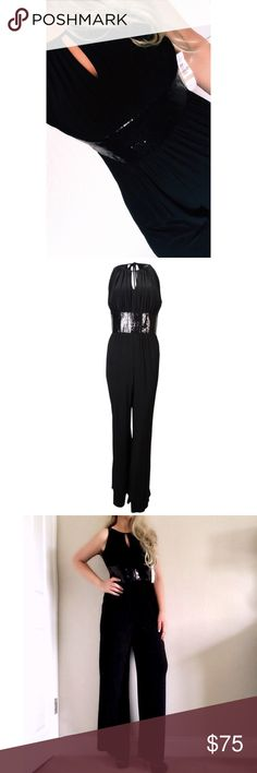 ➕ NWT Dillard's R & M Richards Cocktail Jumpsuit Jumpsuit features lined top, keyhole halter neckline, padded bust, sequined waistline, jersey fabric, wide legs, and concealed back zipper closure Lined top: 100% Polyester Concealed back zipper Keyhole halter neckline Matte jersey fabric Sequined empire waistline R & M Richards Dresses