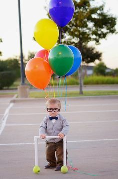 have a little one that isn't quite walking on their own yet? use a little baby walker & deck them out as carl from 'up'! super cute!