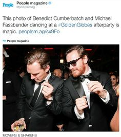 Micheal Fassbender and Benedict Cumberbatch dancing