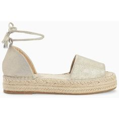 Nothing says summer quite like our flatform Edna Espadrille. On-trend update to the classic espadrille. Wrapped ankle strap with tassel ends. Jute braided h… Ankle Tie Espadrilles, Ankle Strap Flats, Ankle Wrap Sandals, White Sandals, Espadrille Sandals, Flat Sandals, Shoes Sandals, Strap Sandals, Champagne Shoes