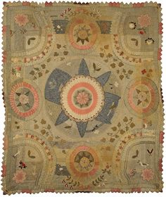19th century wool applique quilt