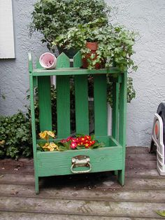 Standing Drawer Planter. This is my sort of garden craft! Pickets and a shelf up top. Website was asking $45 each. Several styles.