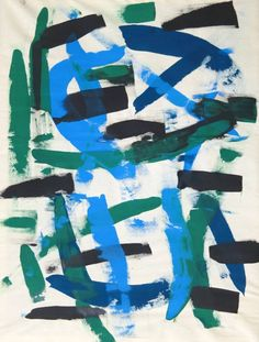 """Untitled 593,"" blue and green abstract painting by artist Drew Gaffney 