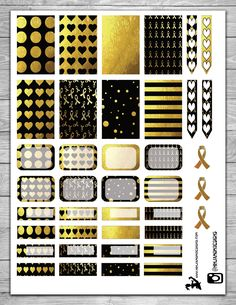 Free Go Gold Cover Planner Stickers