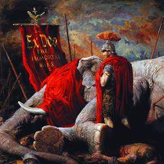 Roman general Scipio with a dead Carthaginian war elephant