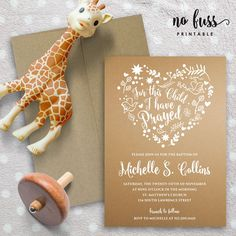 Nautral Heart Flora Baptism Invitation  by NoFussPrintable on Etsy